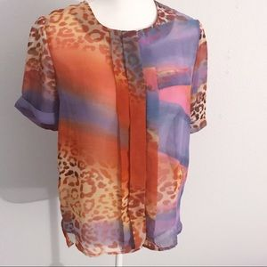 W118 Walter Baker colorful leopard print sheer top